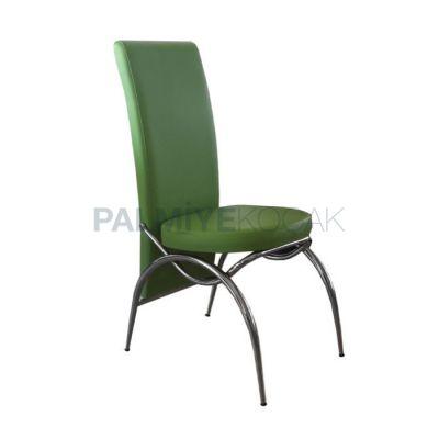 Krom Metal Döşemeli Deri Yeşil Sandalye