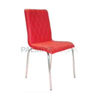Metal Derili Kırmızı Kapitoneli Sandalye