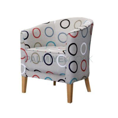 Otel Döşemeli Kumaş Gri Desenli Sandalyesi