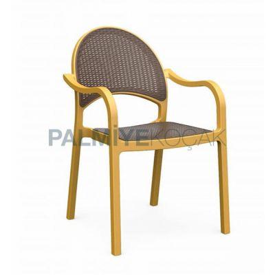 Kollu Plastikli Sırtı Oturma Antrasit Renkli Gold Plastik Sandalye