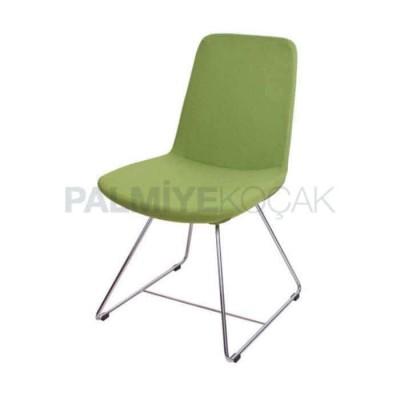 Poliüretan Ayaklı Demir Çubuk Derili Yeşil Fıstık Sandalye