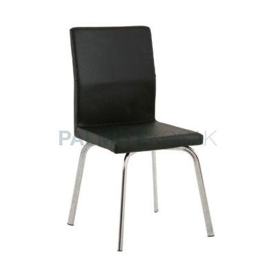 Poliüretan Ayaklı Metal Derili Siyah Sandalye
