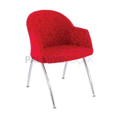 Poliüretan Ayaklı Metal Kollu Döşemeli Kumaş Kırmızı Sandalye