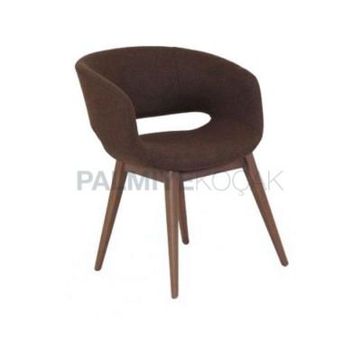 Poliüretan Ayaklı Torna Döşemeli Kumaş Kahve Sandalye