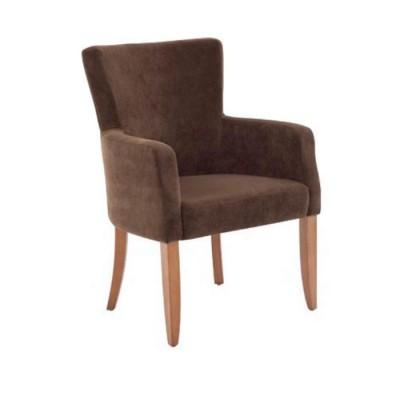 Poliüretan Boyalı Natural Döşemeli Kumaş Kahve Sandalye