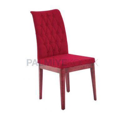 Poliüretan Kapitoneli Kumaş Kırmızı Sandalye