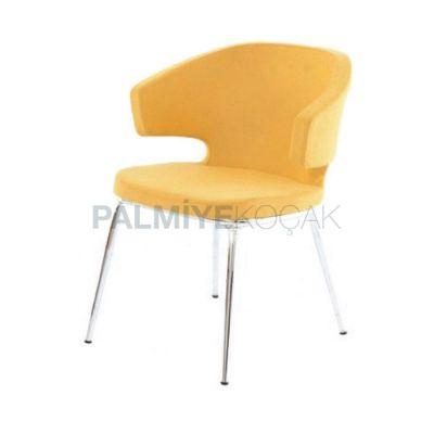 Poliüretan Kollu Döşemeli Deri Sarı Sandalye