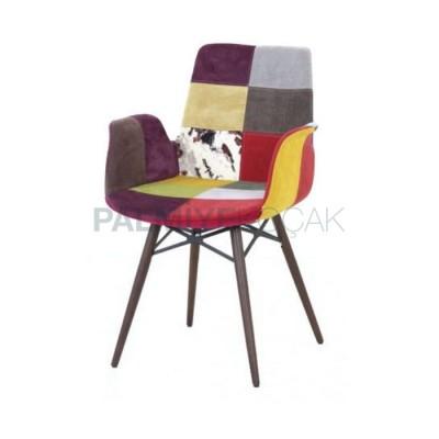 Poliüretan Kollu Döşemeli Kumaş Renkli Karışık Sandalye