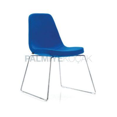 Poliüretan Kumaşlı Mavi Demirli Çubuk Sandalye
