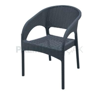 Bahçe Mekan Dış Kollu Siyah Sandalyesi