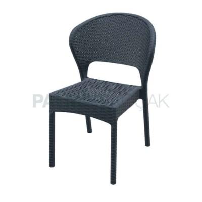 Bahçesi Kış Enjeksiyon Rattan Siyah Sandalyesi