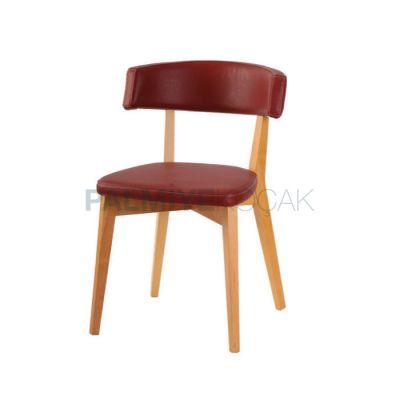 Cafe Ahşap Döşemeli Deri Bordo Sandalyesi