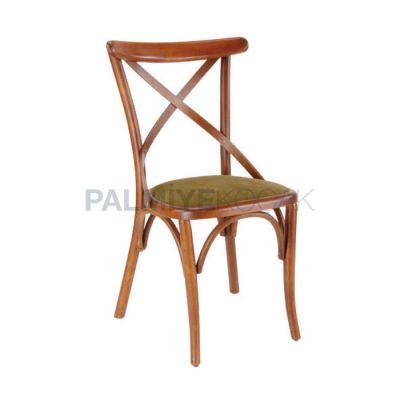 Restoran Ahşap Cilalı Çıtalı Çapraz Sandalyesi