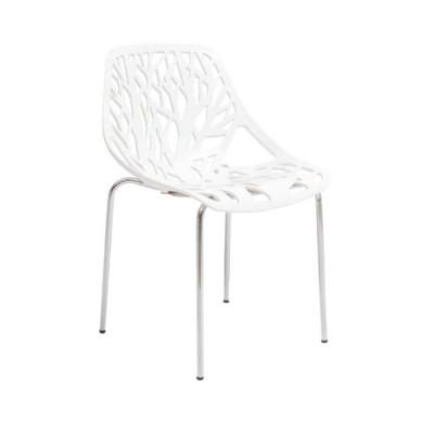 Bahçe Restaurant Ayaklı Krom Beyaz Sandalyesi